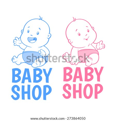 Two baby shop logo. Isolated on a white background - stock vector
