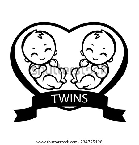 two baby twins - an allegorical drawing love children - vector stylized drawing for logos, sign, cards, invitations and baby shower - stock vector