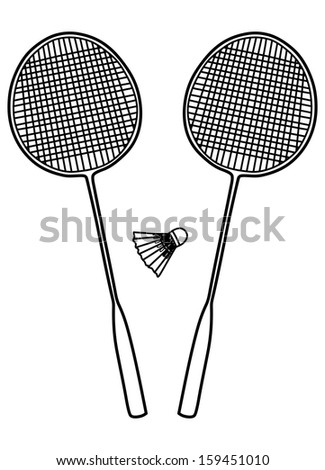 Two badminton rackets and a shuttlecock, vector illustration
