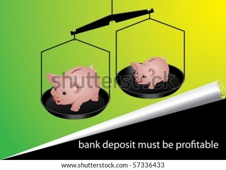 Two bank accounts are weighed in the balance - stock vector