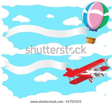 Two banner depicting a flying balloon and aircraft against the blue sky.Done in retro style - stock vector