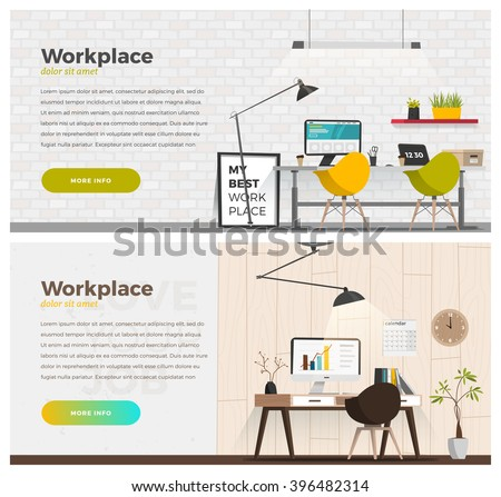Two banner for web design. Office theme - stock vector