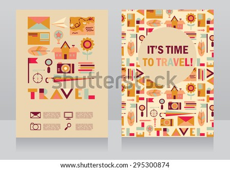 two banners for tourism and travel, vector illustration - stock vector