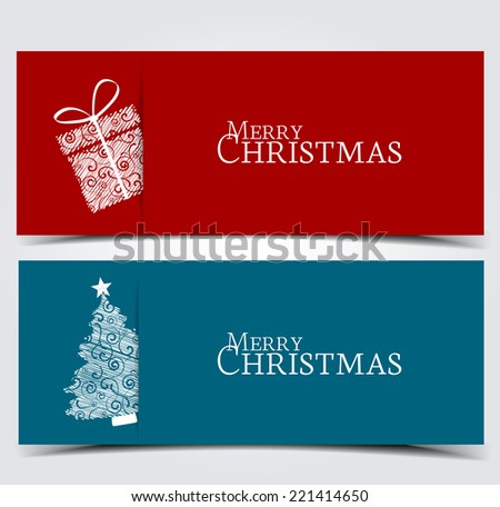 Two banners with Christmas tree and box - stock vector