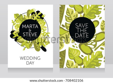 Two banners frame formed tropical leaves stock vector 708402106