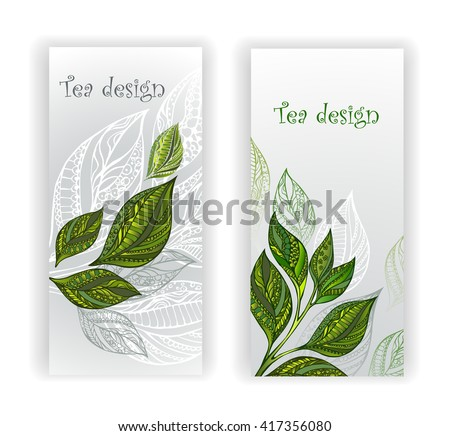 Two banners with patterned, green, gray and white tea leaves and sprouts. Tea design.