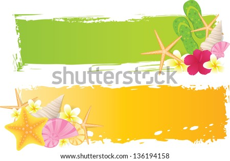 Two banners with seashells, starfish, flowers and grunge elements - stock vector