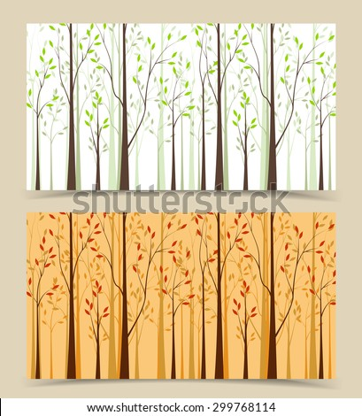 Two banners with the background landscape and trees - stock vector