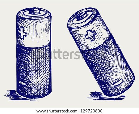 Two batteries. Doodle style. Vector EPS 8 - stock vector