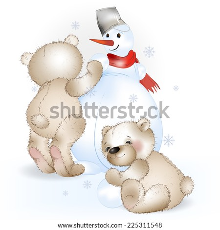 Two Bears make a snowman. The white background. - stock vector