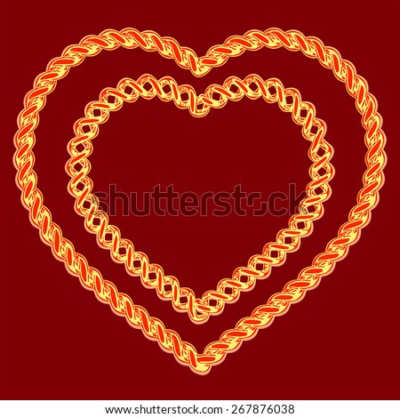two beautiful hearts made of a gold wire on a red background - stock vector