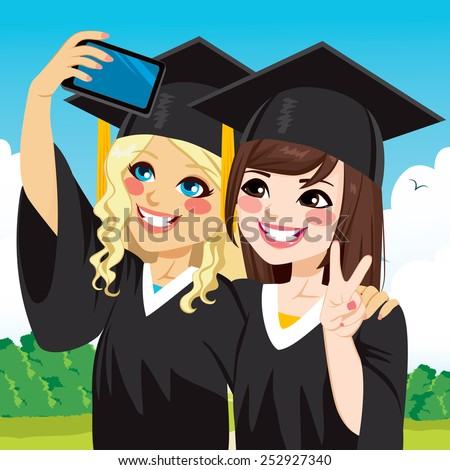 Two beautiful student girls on graduation day celebration taking selfie - stock vector