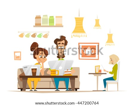 Two Beautiful Students Friends Sitting And Working With Laptop In Cafe Cafeteria - stock vector