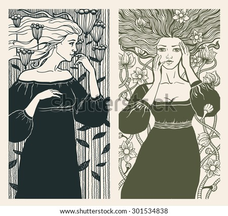 Two beautiful women in art nouveau style. Vector. - stock vector