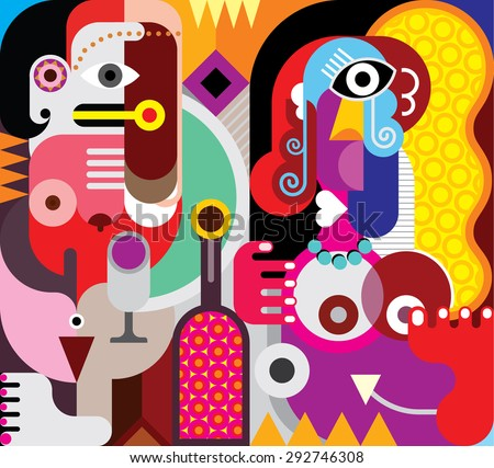Two beautiful women with bottle of wine. Abstract fine art vector illustration. - stock vector
