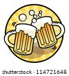 Two beer mug sign, vector illustration - stock vector