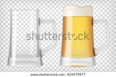 two beer mugs an empty glass and a full glass mug full with blond