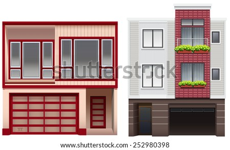 Two big buildings on a white background - stock vector