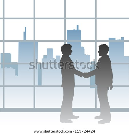 Two Big City business people seal a collaboration deal with handshake - stock vector