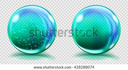 Two big light blue glass spheres with air bubbles and without, and with glares and shadows. Transparency only in vector file - stock vector