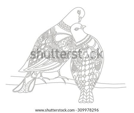 Two birds are sitting on a tree branch zentangle stylized pigeons vector illustration