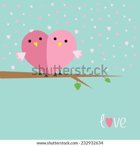 Two birds in shape of half heart sitting on the tree Love cart Flat design style Vector illustration - stock vector