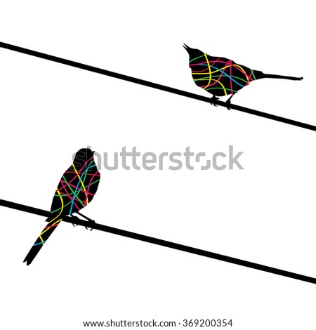 Two birds on wires. Vector background.