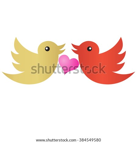 two birds that love - stock vector