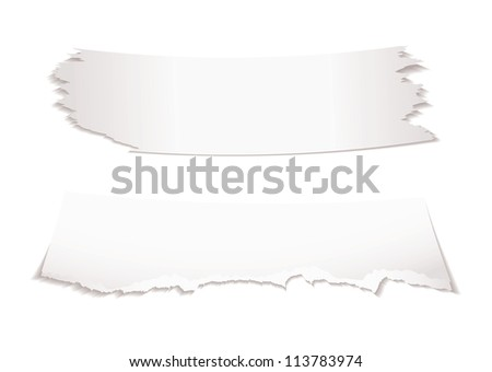 Two bits of torn white paper with shadow with copy space - stock vector