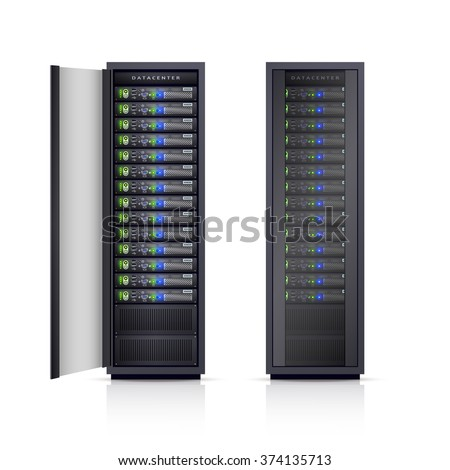 Two black adjustable computer server racks enclosures boxes design icons print realistic isolated vector Illustration