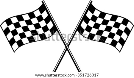 two black checkered flag crosswise