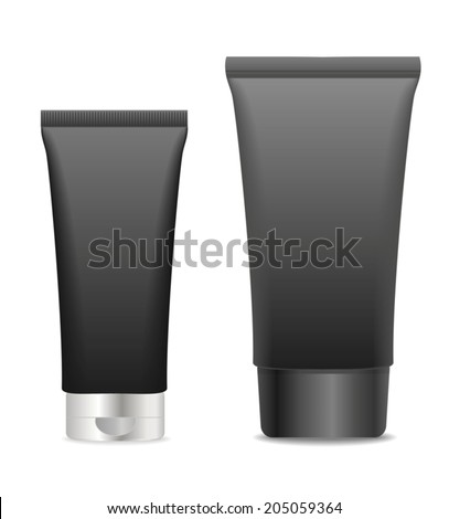 Two black cosmetic tubes isolated on white. Place for your text. Vector - stock vector