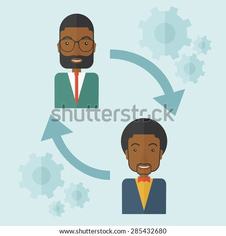 Two black men in exchanging ideas. Partnership concept. A contemporary style with pastel palette soft blue tinted background. Vector flat design illustration. Square layout. - stock vector