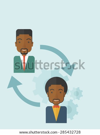 Two black men in exchanging ideas. Partnership concept. A contemporary style with pastel palette soft blue tinted background. Vector flat design illustration. Vertical layout. - stock vector