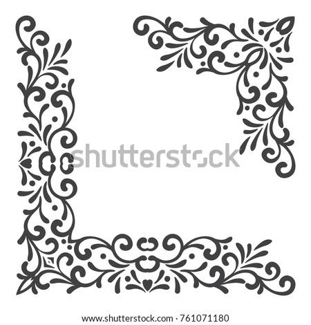 Two Black Vintage Corners On White Background Elegant Hand Drawn Retro Floral Border Design
