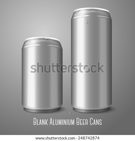 Two blank aluminium beer cans isolated on gray background, with place for your design and branding. Vector - stock vector