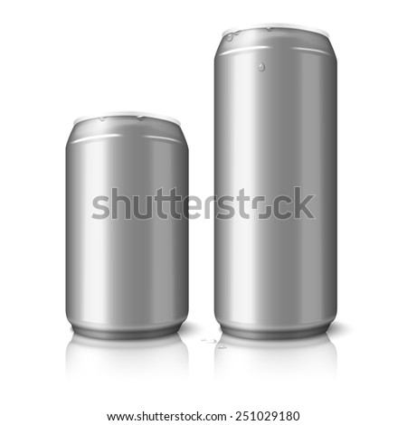 Two blank aluminum beer cans isolated on white background, with place for your design and branding. Vector - stock vector