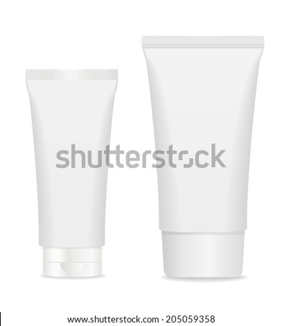 Two blank cosmetic tubes isolated on white. Place for your text. Vector - stock vector