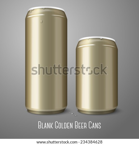 Two blank golden beer cans isolated on gray background, with place for your design and branding. Vector - stock vector