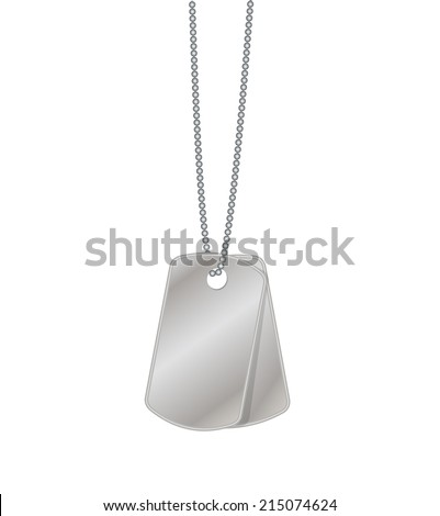 Two blank metal tags hanging on chain, vector illustration
