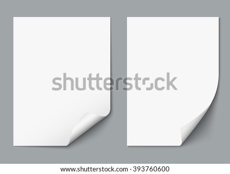 Two blank sheets of paper or paper stickers with shadow. Vector Elements for advertising isolated on grey background. Realistic vector illustration for your design