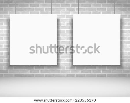 Two blank white frames on brick wall, vector eps10 illustration - stock vector