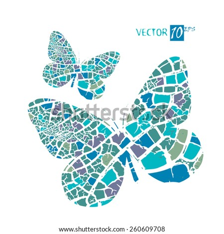 two blue butterfly mosaic. Vector - stock vector