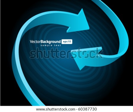 Two blue graph arrows swirl vector background - stock vector