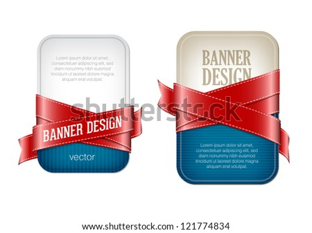 Two blue vector banners braided with red silky glossy ribbons - stock vector