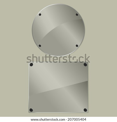 Two bolted glass plates on a gray background. Vector illustration - stock vector