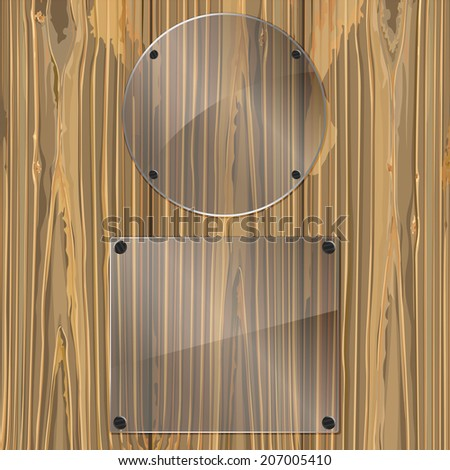Two bolted glass plates on a wood background. Vector illustration - stock vector