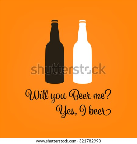 Two bottles of beer vector. Funny beer poster vector for pubs and bars. - stock vector