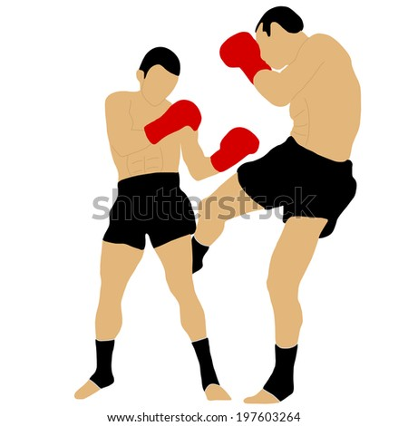 two boxers fighting with low kick - stock vector