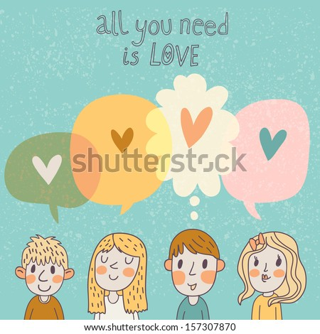 Two boys and two girls are thinking about love. Romantic concept card in cartoon style in vector - stock vector